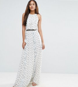 Read more about True decadence tall all over floral maxi dress with metal belt detail in ditsy floral print - multi