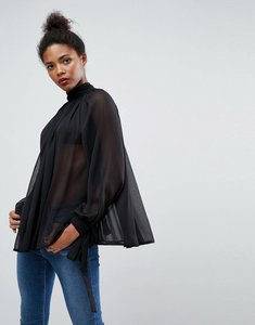 Read more about Asos high neck floaty blouse - black