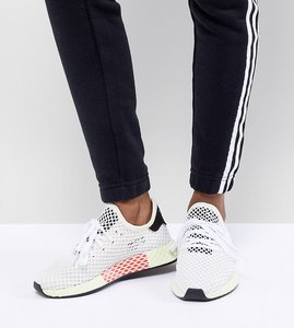 Read more about Adidas originals deerupt runner trainers in white and yellow - white