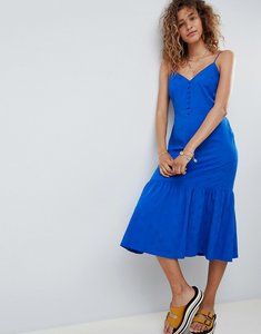 Read more about Asos design pep hem midi slip dress in jacquard - cobalt