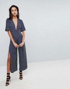 Read more about Parallel lines plunge front jumpsuit with wide leg splits in stripe - navy white stripe
