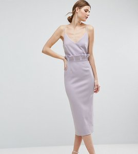 Read more about Asos tall paper bag waist midi pencil dress - lilac