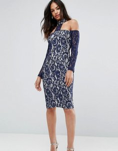 Read more about Ax paris navy long sleeved bardot midi dress - navy cream