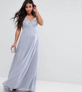 Read more about Chi chi london maternity cami strap maxi dress with premium lace - grey