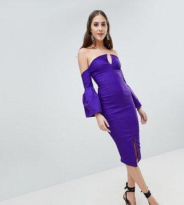 Read more about Vesper tall bardot bell sleeve pencil dress - jewelled purple