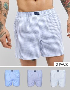 Read more about Polo ralph lauren 3 pack woven boxers in stripe check plain in blue - blues