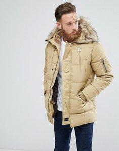 Read more about Schott snork quilted parka hooded detachable faux fur trim in beige - beige