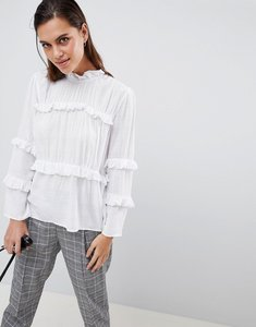 Read more about Y a s tiered high neck blouse - white