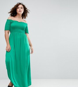 Read more about Asos curve off shoulder maxi sundress with shirring - green