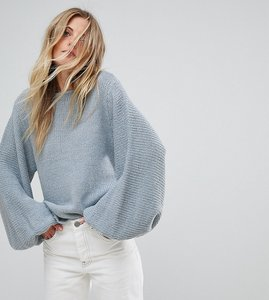 Read more about Oneon hand knitted balloon sleeve jumper - blue