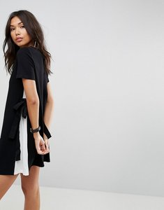 Read more about Asos shift dress with contrast sides and belt detail - black white