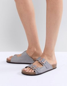 Read more about Office superstar grey studded slider sandals - grey