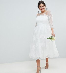 Read more about Asos edition curve lace midi prom wedding dress - white