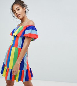 Read more about Asos design tall off shoulder sundress with tiered skirt in rainbow stripe - multi