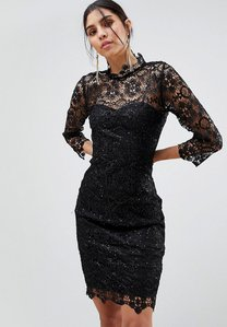Read more about Paper dolls high neck lace midi dress - black