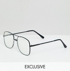 35b32500b77 Read more about Reclaimed vintage inspired aviator clear lens glasses in  black - black