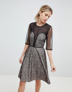 Read more about Little mistress contrast lace prom dress - black