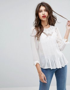 Read more about Asos blouse with embroidery and lace detail - ivory