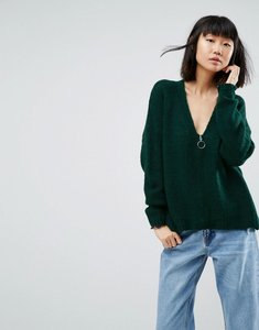 Read more about Asos oversized cardigan with zip front - green
