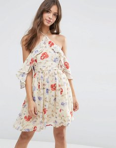 Read more about Asos cold shoulder mini dress with ruffle sleeve in vintage floral print - multi