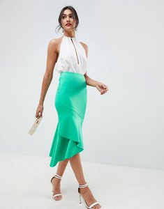Read more about Asos design scuba pencil midi skirt with ruffle detail - green