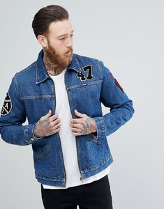 Read more about Wrangler hawkins mid stone borg lined denim jacket - blue