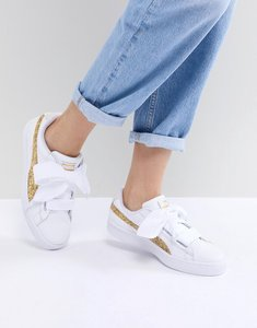 Read more about Puma basket heart trainers in white with gold glitter - white