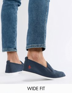 Read more about Original penguin wide fit norris slip on plimsolls in navy - white