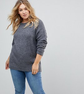 Read more about Asos curve jumper in fluffy yarn with crew neck - grey