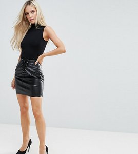 Read more about Naanaa petite bodycon mini skirt in pu with lace up detail - black