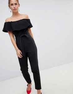 Read more about Miss selfridge bardot jumpsuit with tie waist - black