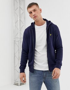 Read more about Lyle scott zipthru hoodie eagle logo in navy - navy