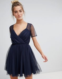 Read more about Asos tulle mini dress with sheer sleeve - navy