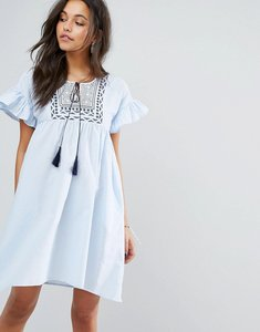 Read more about Mango frill and embroidered smock dress - blue