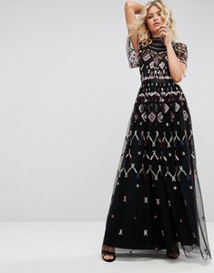 Read more about Needle thread embroidered maxi dress - black