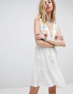 Read more about Kiss the sky embroidered boho dress with plunge front - cream