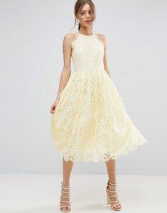 Read more about Asos lace pinny scallop edge prom midi dress - cream