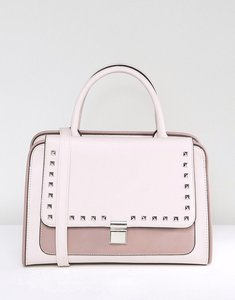 Read more about Asos stud flap contrast pocket front tote bag - pink