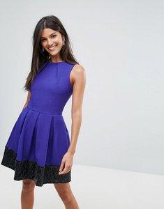 Read more about Closet sequin contrast hem skater dress - purple