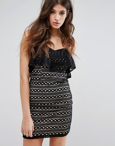 Read more about Miss selfridge lace bandeau mini dress - black