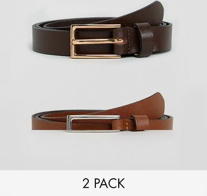 Read more about Asos 2 pack smart leather skinny belt save - tan brown