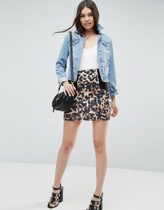 Read more about Asos mini skirt with side rib detail in animal print - multi