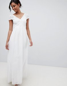 Read more about Little mistress allover broderie plunge front maxi dress in white - white
