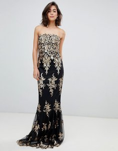 Read more about City goddess strapless sequin embroidered maxi dress - champagne black