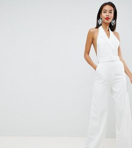 Read more about Asos design tall tux jumpsuit with wide leg - ivory