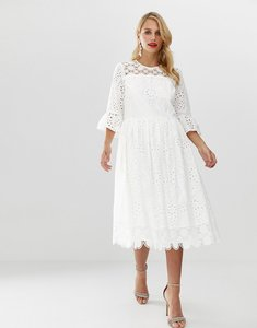 Read more about Asos design broderie smock midi dress with fluted sleeves