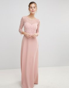 Read more about Little mistress maxi dress with sheer mesh and pearl overlay - pink