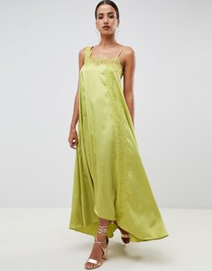 Read more about Asos design satin trapeze maxi dress with lace trim - green