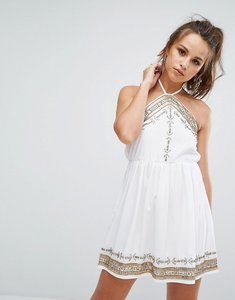 Read more about Prettylittlething embellished swing dress - white