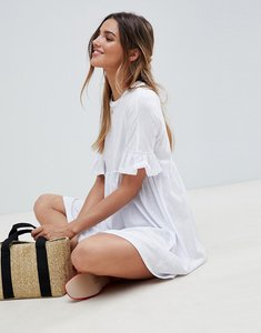 Read more about Asos design cotton slubby frill sleeve smock dress - white